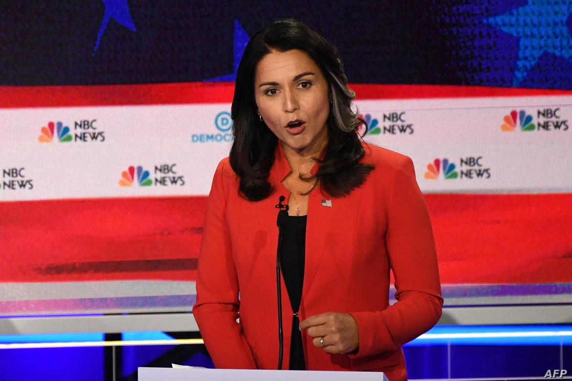 Democratic presidential hopeful U.S. Representative from Hawaii Tulsi Gabbard speaks during the first Democratic primary debate of the 2020 presidential campaign  at the Adrienne Arsht Center for the Performing Arts in Miami, June 26, 2019.