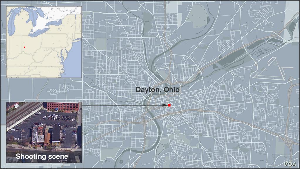 Map of shooting scene in Dayton, Ohio