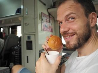 Dave with his mungbean bun...