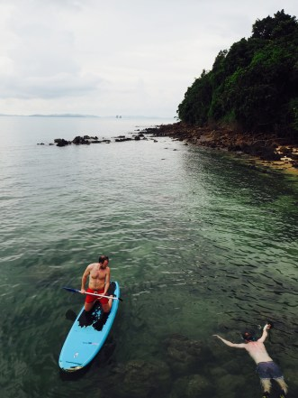 Snorkelling and paddle boarding just off the beach