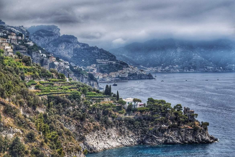 Stunning Amalfi coastline of a dark and gloomy day, Sorrento to Amalfi road trip