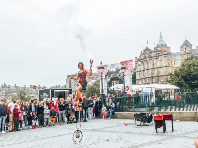 Fringe performer at Edinburgh Fringe Fest playing with Fire