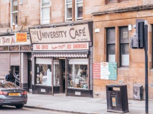 The University Cafe on a street in Glasgow