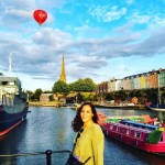 Sarah on Bristol Waterfront with colorful buildings
