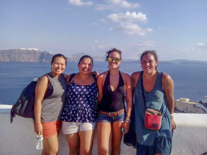 Couchsurfing in Santorini with couchsurfers and travel blogger Sarah Fay in Greece.