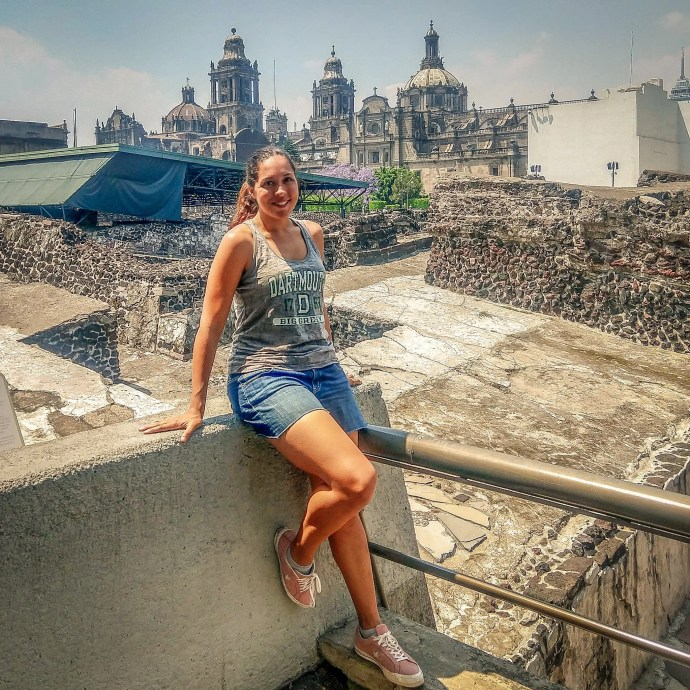 Sarah Fay in Templo Mayor Museum an outdoor museum and archaeological site of the Aztec/Mexica.