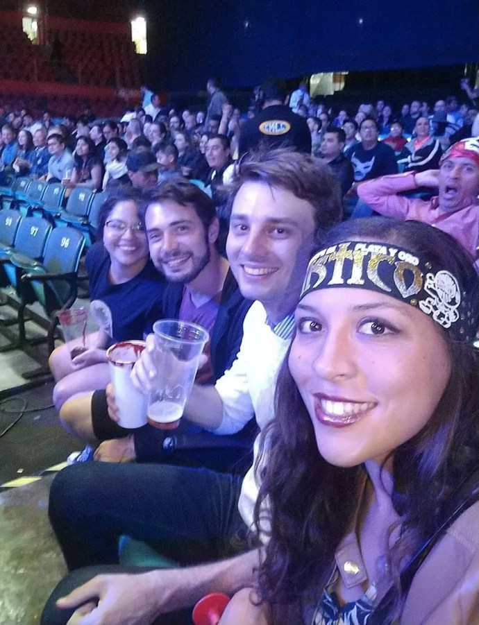 Watching Lucha Libre in the famous Arena Mexico with hostel mates from Hostel Suites DF