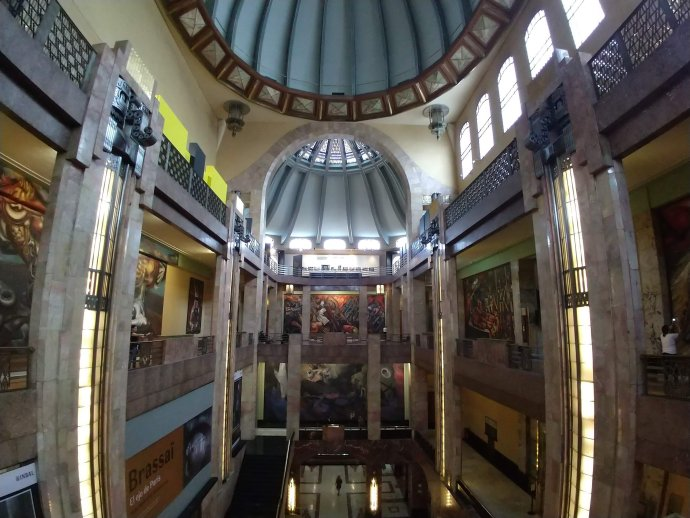 Inside Palacio Belles Artes in Mexico City  with Murals from Diego Rivera and other Mexican Muralists.