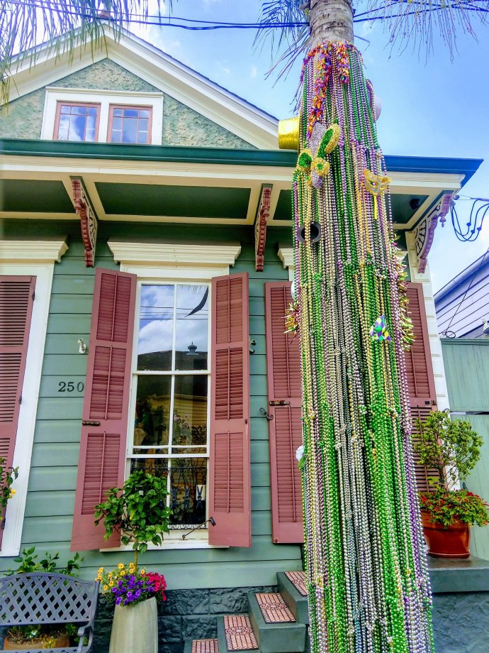 Festive decor leftover from Mardi Gras in the Bywater Neiighborhood in New Orleans La.