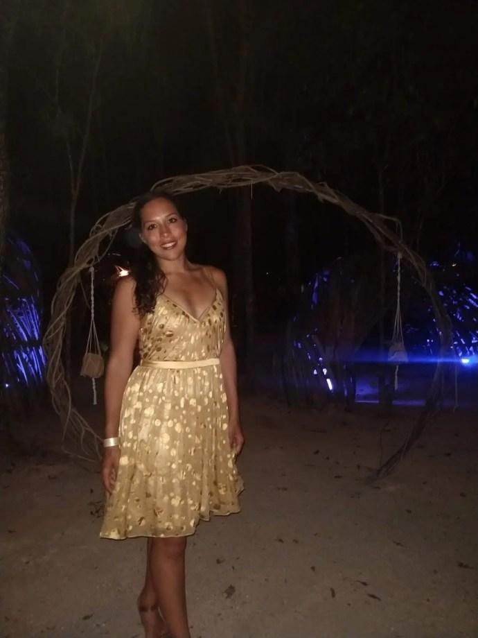 Sarah Fay in pretty dress at Papaya Playa Project a posh club in Tulum Mexico