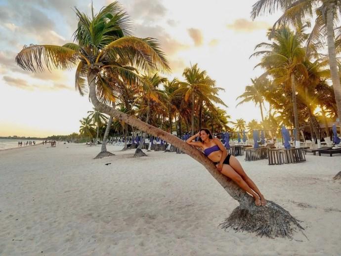 Sarah Fay on Playa Paradiso in Tulum Mexico