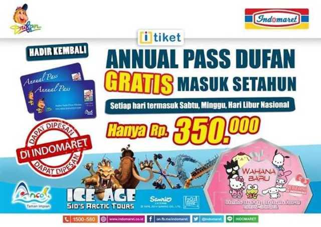 Promo Annual Pass Dufan Indomaret harga spesial hanya Rp 350.000