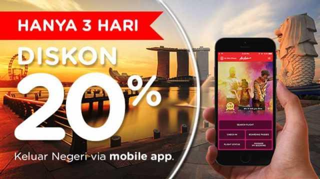 Promo Air Asia diskon tiket pesawat ke luar negeri hingga 20% cukup menggunakan Apliakasi Air Asia Android dan IOS
