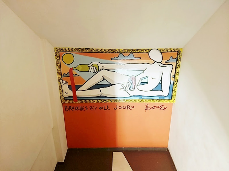 The stairway at Hello Hostel Brussels