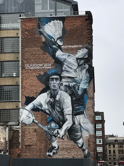 badminton commonwealth games glasgow street art
