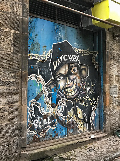 glasgow street art mad joker