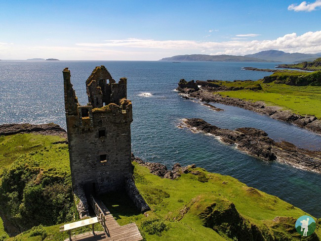 aerial gylen castle drone sunny kerrera