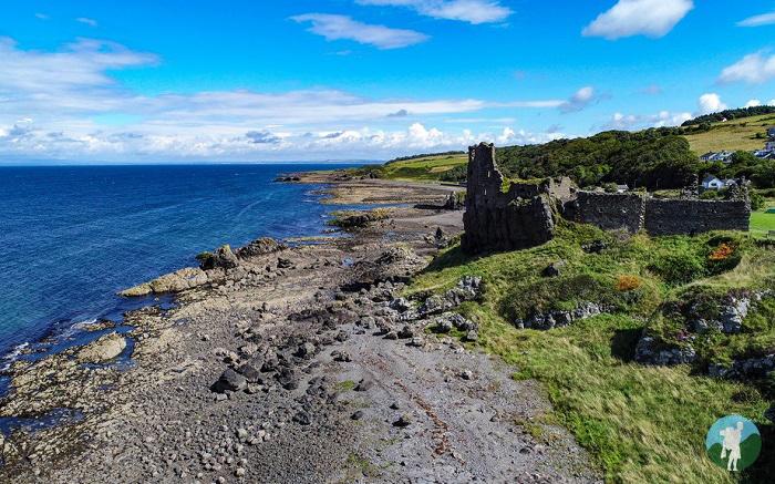 drone aerial dunure castle clifftop
