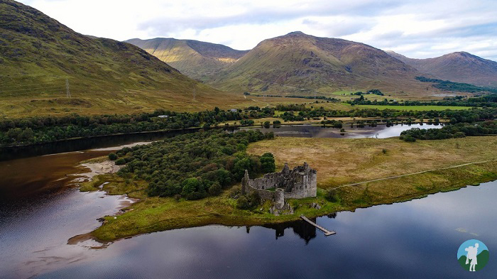 scotland in a day kilchurn castle argyll aerial