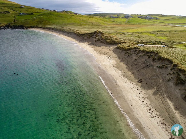 scousburgh beach drone shetland travel blog