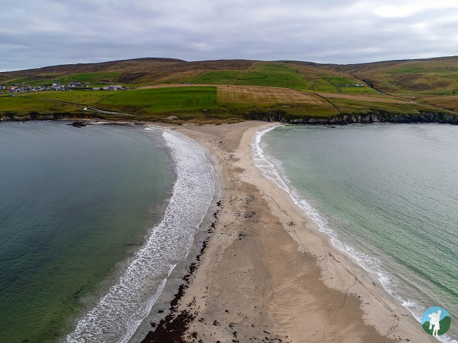 st ninian's isle tombolo drone shetland travel blog