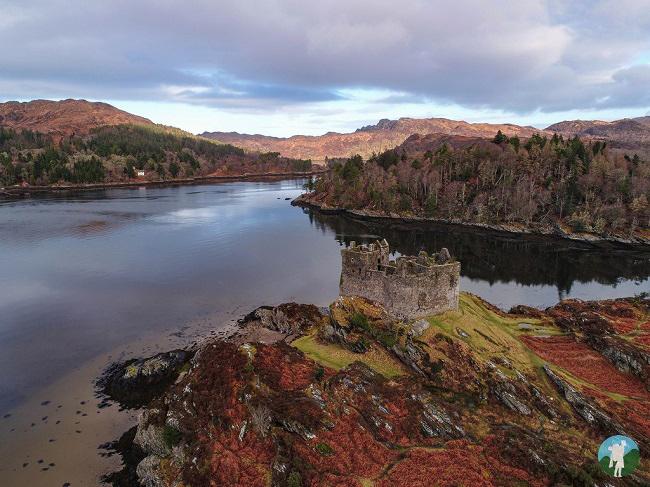 castle tioram scotland drone