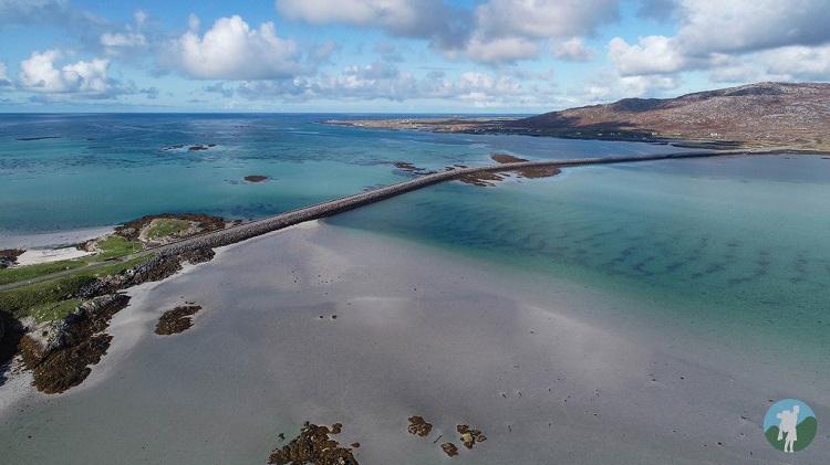 eriskay causeway drone west coast scotland holidays