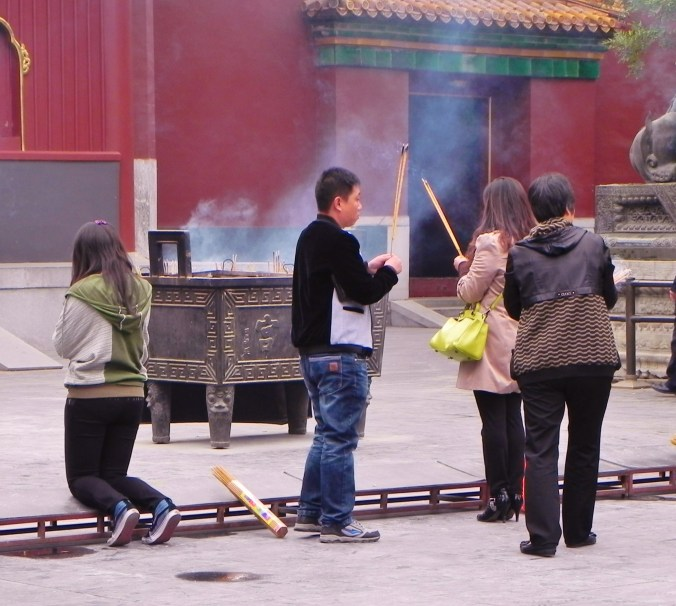 "Worshipers outside the ""First Hall"" of the Lama Temple"