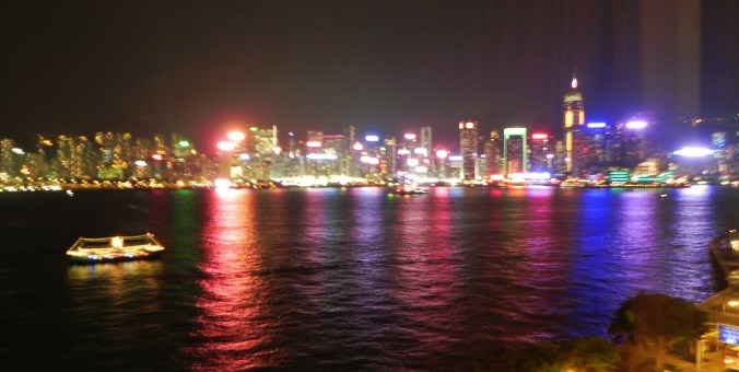 China, Hong Kong, Harbor, view, light show, lights, night, skyline