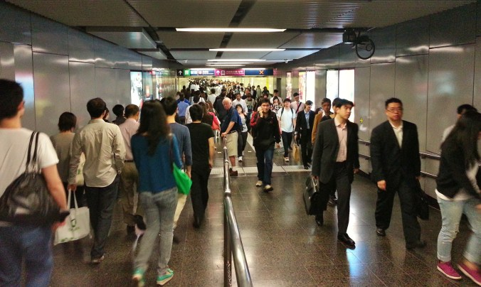 China, Hong Kong, subway, crowds