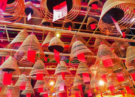 China, Hong Kong, Man Mo Temple, incense, coils