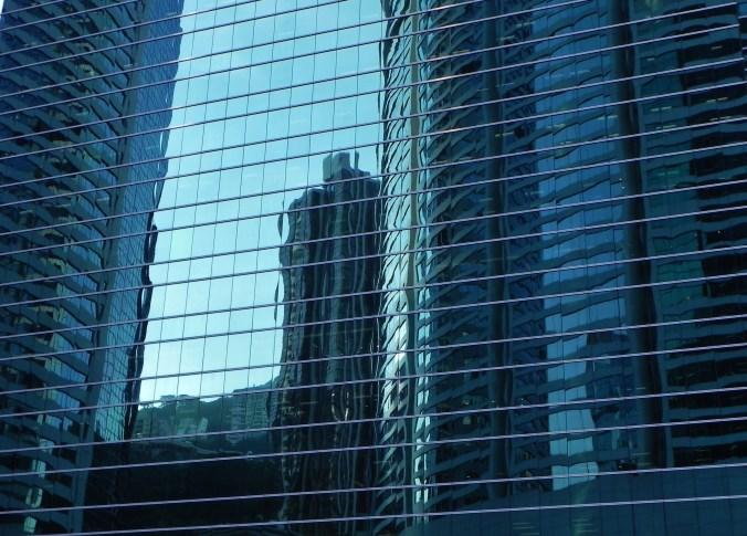 China, Hong Kong, buildings, reflections