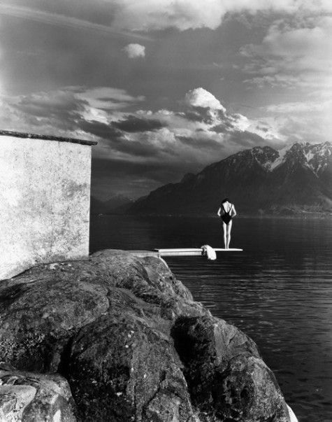 diving board, rock cliff