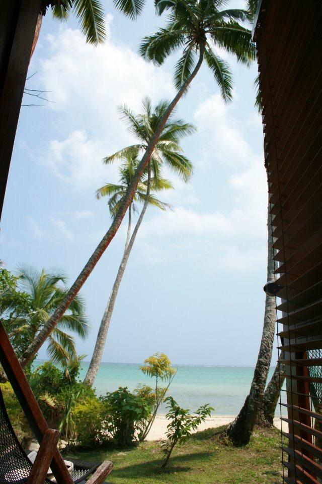 The view from the door of my bure at Mango Bay Resort, Sigatoka, Fiji