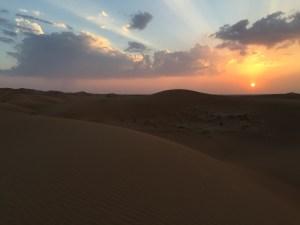 Magic sunsets in the desert in Dubai
