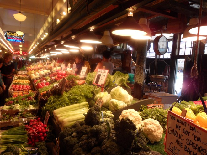 Fresh vegetables at Pike Place Market
