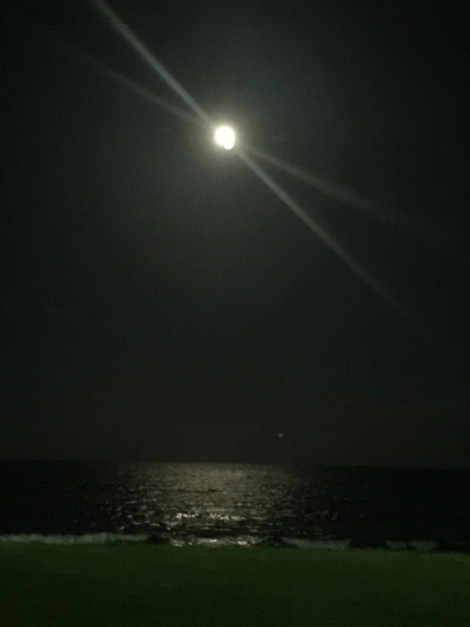Looking out to the moonlight and the Atlantic Ocean