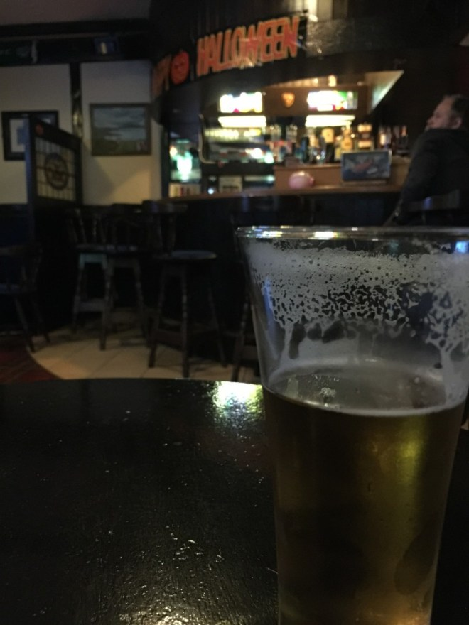 Enjoying a beer at The Strand bar in Maghery, County Donegal, Ireland
