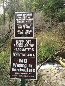 Sign at the headwaters