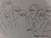 Women at the Friday market in Damascus - from my Syria sketchbook.