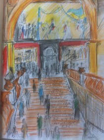 The grand staircase in Stockholm's National Museum from my Swedish sketchbook