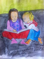 Lottie (aged 4) reading a book to Frida (aged 2)... in a rare moment of calm