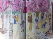 Under the blossom Trees in Kungsträdgården, Stockholm – from my Sweden sketchbook.