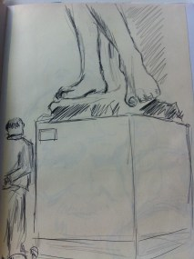 People watching at the Victoria and Albert Museum - from my London sketchbook.