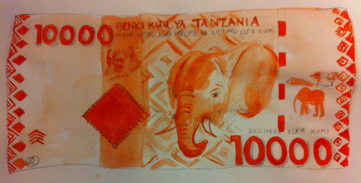 Every Day in May 2014 #31 Draw some paper money - a 10,000 Tanzania Shilling note.