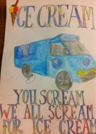 Every Day in May 2014 #28 Draw a truck - Hemglass, Sweden's ice-cream truck.