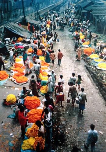 Marigold garlands for sale at Howrah Bridge Flower Market in Kolkata
