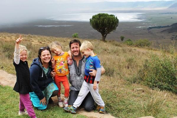 Frida, Ali, Lottie, Mark and Leon on the edge of the Ngorogoro Crater, Tanzania