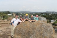 Mark, Ali, Lottie, Leon and Frida on the Dancing Rocks in Mwanza, Tanzania