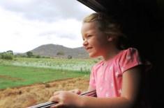 Frida enjoying the ride - On the train from Mwanza to Dar Es Salaam, Tanzania.